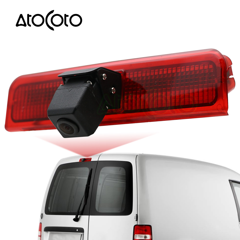 AtoCoto Car Brake Light Rear View Backup Camera with LED for VW Caddy 2003 2015 Parking