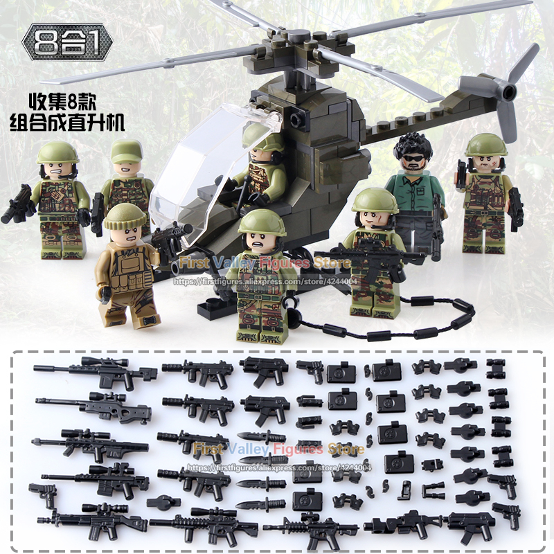 DR TONG 80pcs lot Military Helicopter Soldier Action Figures Set Army Weapon Building Blocks Children Bricks