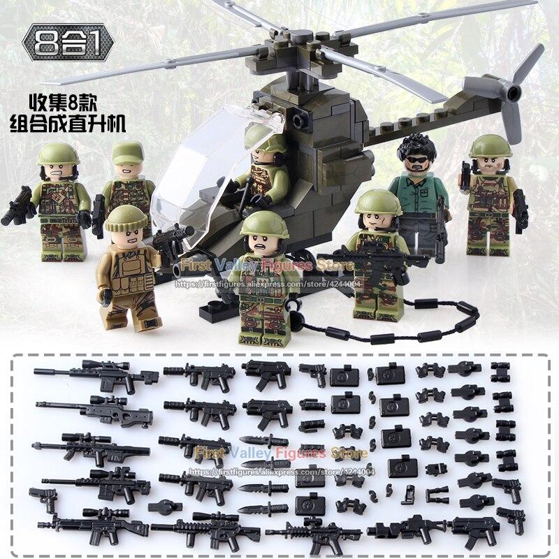 DR. TONG 80 teile/los Militär Hubschrauber Soldat Action figuren Set Armee Waffe Bausteine Kinder Ziegel Spielzeug DLP9061-in Sperren aus Spielzeug und Hobbys bei  Gruppe 1
