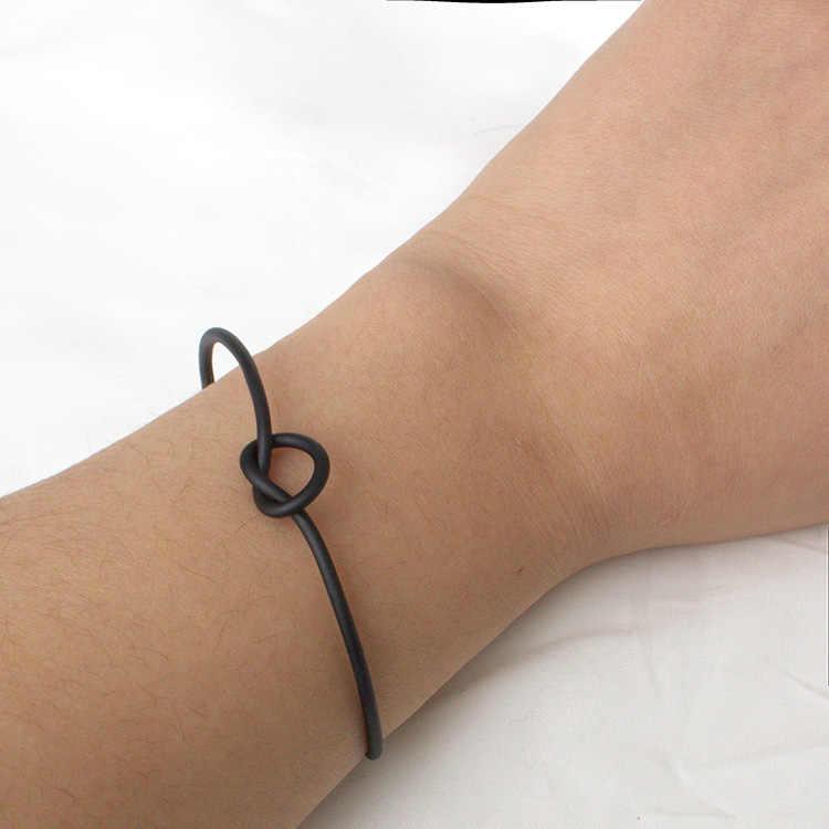 2019 nowości Hot moda proste Hollow Metal Knot otwórz regulowany duży/mały urok bransoletki mankietów bransoletki dla kobiet biżuteria