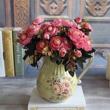 1 ramo de flores de seda Artificial de té Rosa Flores de seda clásica europea caída vívida peonía hoja falsa decoración de fiesta en casa de boda