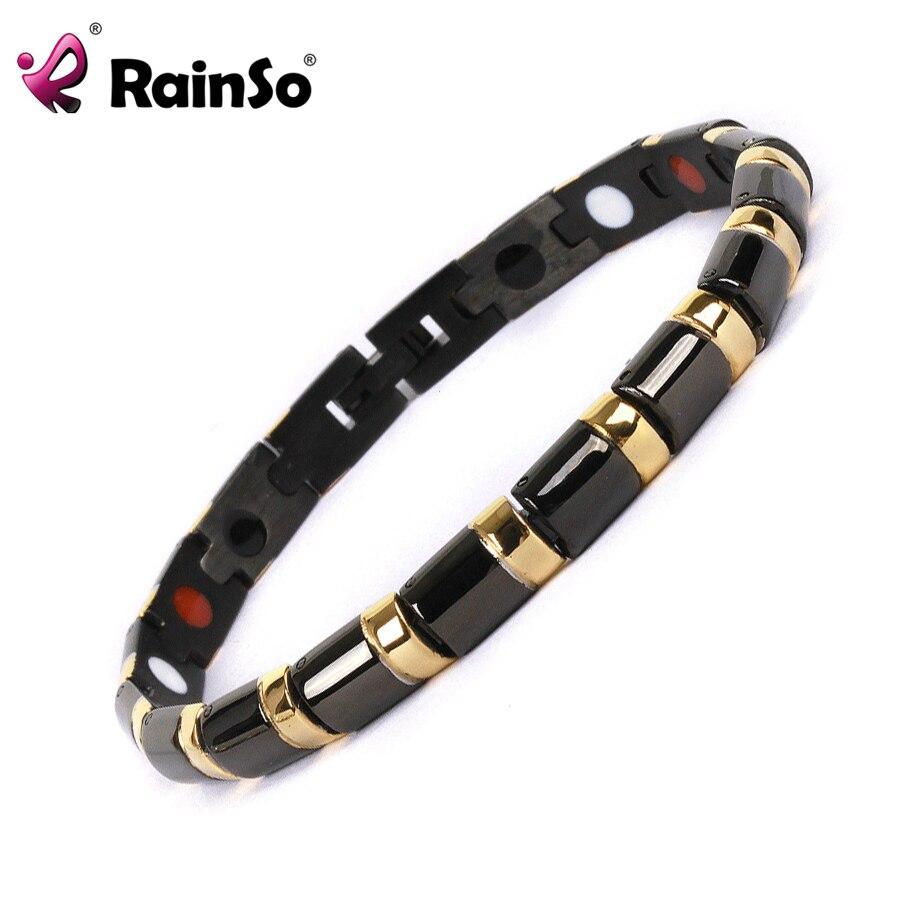 Prix pour Rainso 2017 Bracelet de Santé de Bracelet de Guérison Magnétique En Acier Inoxydable 316L Bracelet Pour Hommes Ou Femmes Avec SAPIN Et Magnétique