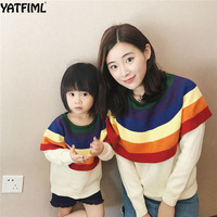 YATFIML 2018 mama and daughter matching family jacket mother daughter knitted coat rainbow collar Big sister outwear