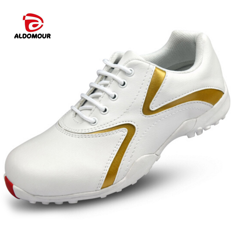 ALDOMOUR Women Waterproof Golf Shoes Anti Skid Spike Sports Shoes Platform Golf Footwear Women Breathable Golf Shoes Outdoor