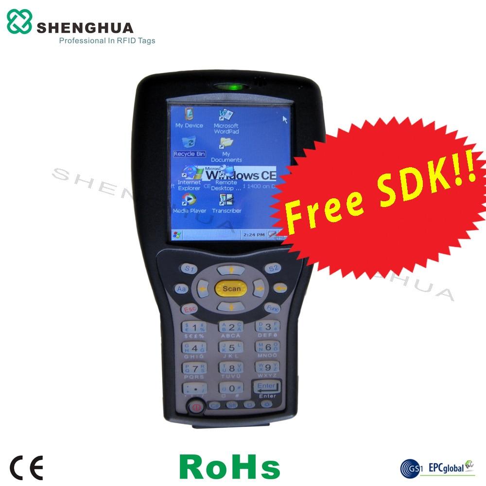 Free SDK UHF RFID Handheld Reader Barcode Scanner With Fingerprint For Asset Tracking