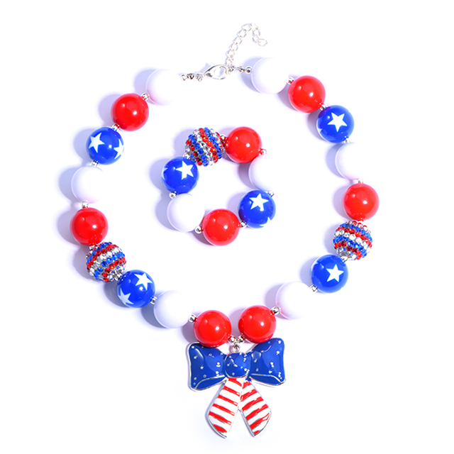 Bow Stars And Stripes Flag Chunky Necklace Chunky Bubblegum Necklace