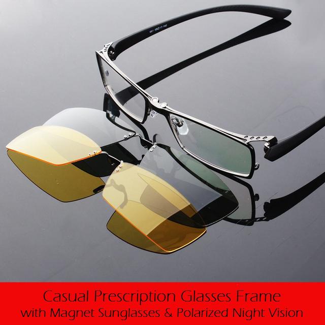 Día y Noche Gafas Polarizadas Señores Anteojos Recetados Marco con 2 Clips