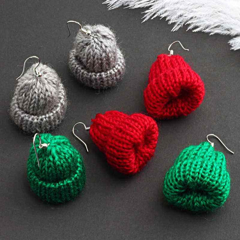 New Design 19 Color Cute Creative Handmade Knitted Hat Dangle Earring Mini Hats Drop Earrings For Women Romantic Fashion Jewelry