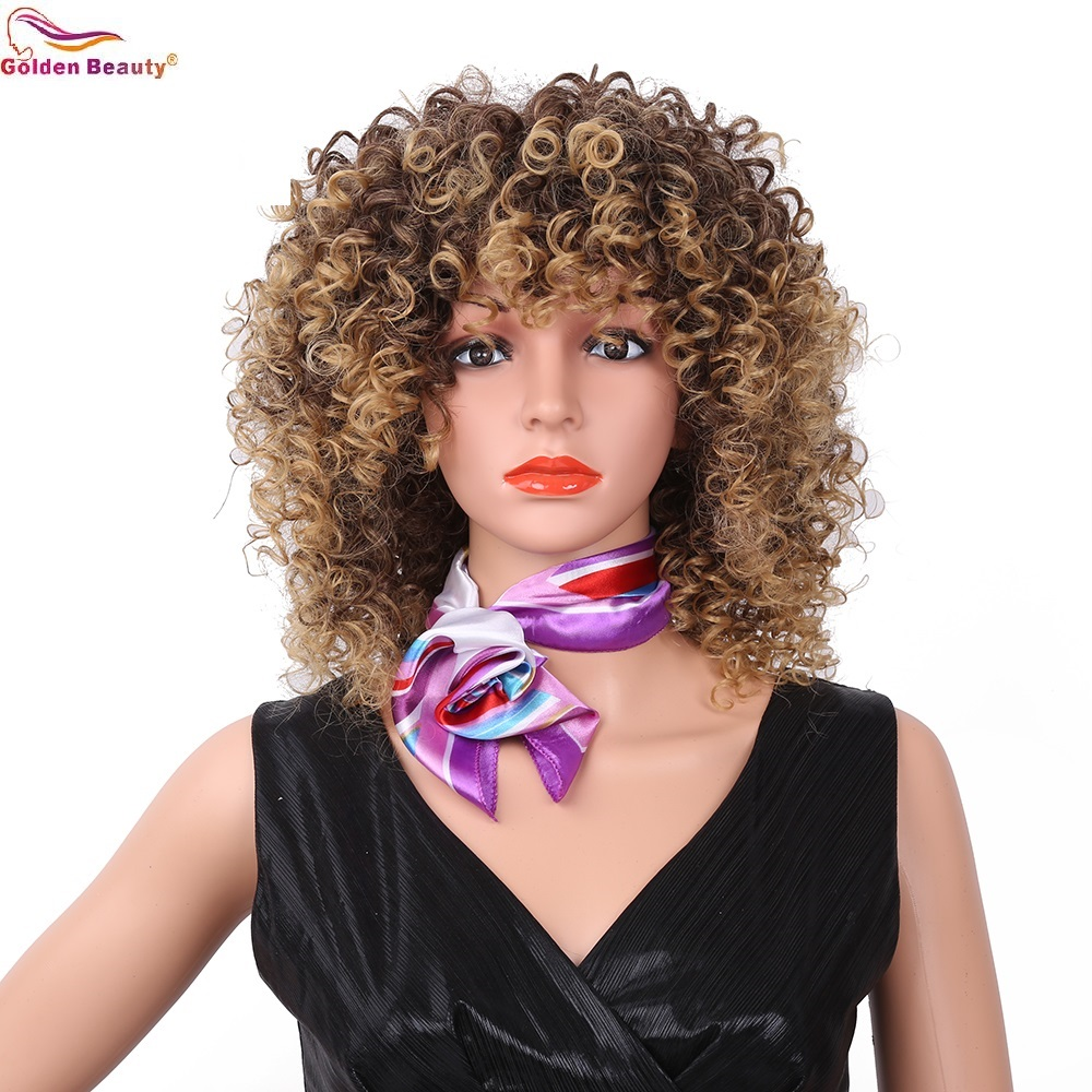 Short Pixie Cut Afro Kinky Curly Synthetic Wigs With Bangs Natural Blonde /Red African Wigs For Women Golden Beauty