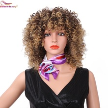 Afro Kinky Curly Wig Heat Resistant Black Red Short Hair Wigs With Bangs Synthetic Wig for Women Golden Beauty все цены