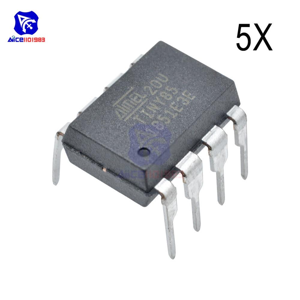 Diymore 5 pièces/lot IC puces ATTINY85-20PU ATTINY85 MCU 8BIT atminuscule 20MHZ 8 broches DIP-8 ATTINY85 microcontrôleur intégré