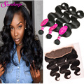 Lace Frontal Closure With Bundles Brazilian Virgin Hair With frontal Closure Body Wave Human Hair 3 Bundles With Frontal Closure