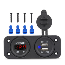 2 in 1 DC 12V Dual USB Socket Splitter Charger + Led Voltmeter Panel Car Boat Motorcycle USB Charger Power Adapter Waterproof