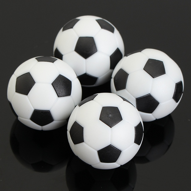 Kiwarm Mini 4pcs Black White 35mm Plastic Football Foosball Balls For Soccer Table Football Craft For Kids Gift Toys Ornament