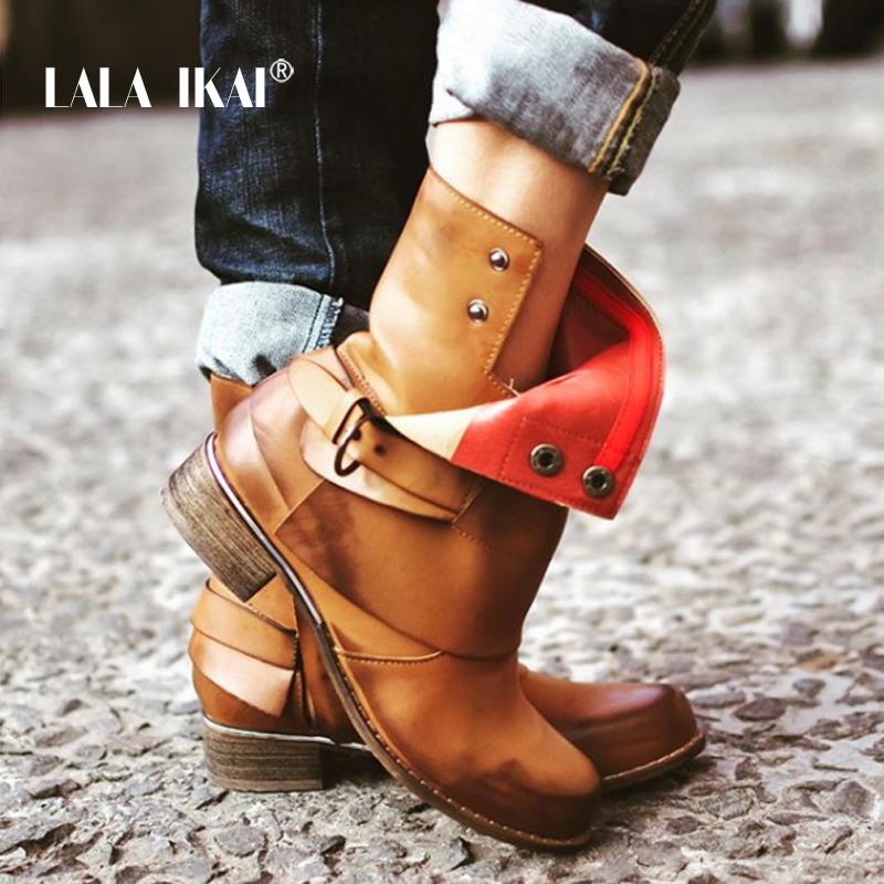 все цены на LALA IKAI Buckle Chelsea Boots Women PU leather Plus Size 36-43 Ankle Boots Round Toe Low Heel Autumn Short Boots 014N1363 -3