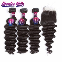 Mornice Hair Brazilian Lös Deep Wave Human Hair Bundles With Closure 3 Bundlar Hair Weave With Closure Non Remy Hair Extension