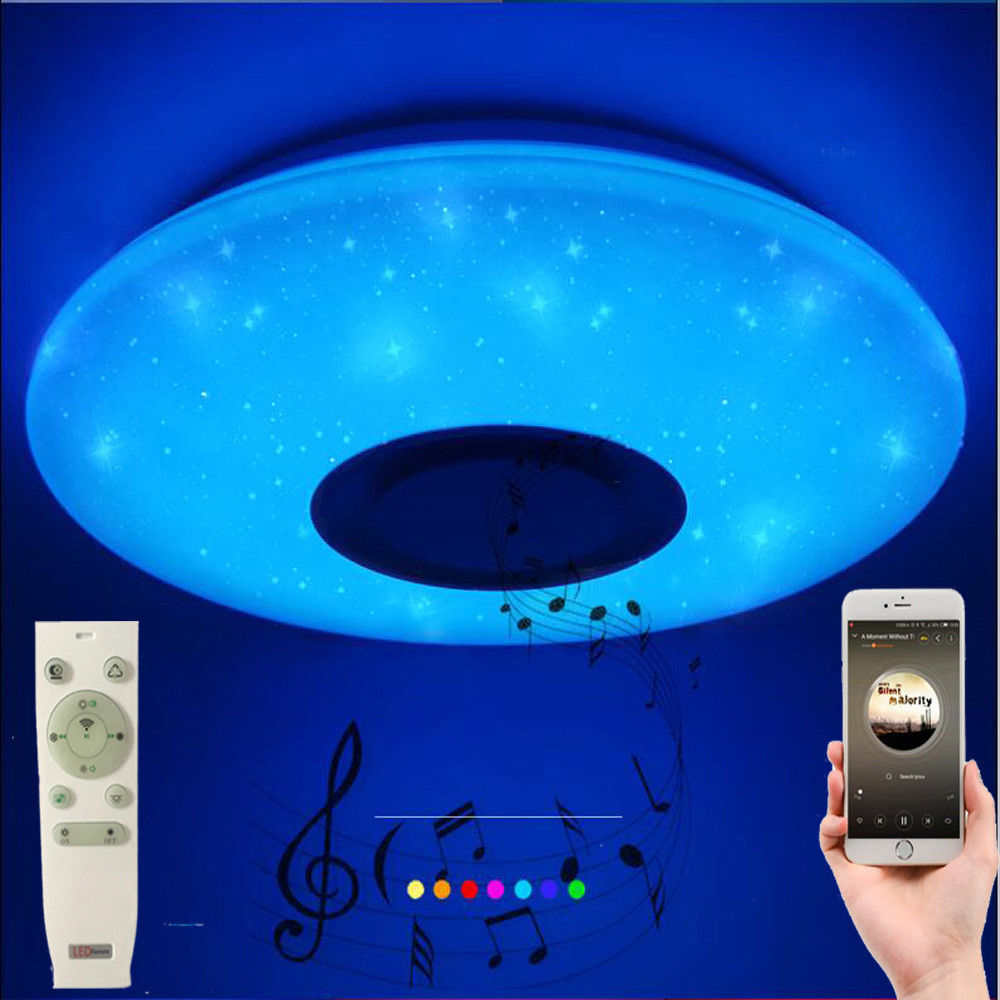 HTB14KsBbozrK1RjSspmq6AOdFXaO 60W Rgb Flush Mount Round Starlight Music Led Ceiling Light Lamp With Bluetooth Speaker, Dimmable Color Changing Light Fixture