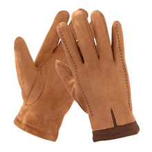 Suede Gloves MenS Winter Warm Plus Velvet Thick Cotton Driving Full Finger Touch Screen TBWM01
