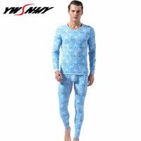Hot Sale 2018 new thermal underwear mens cotton long johns fashion print homme Autumn winter shirt+pants 2 piece sets warm M XXL