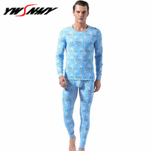 Hot Sale 2019 new thermal underwear mens cotton long johns fashion print homme Autumn winter shirt+pants 2 piece sets warm M-XXL