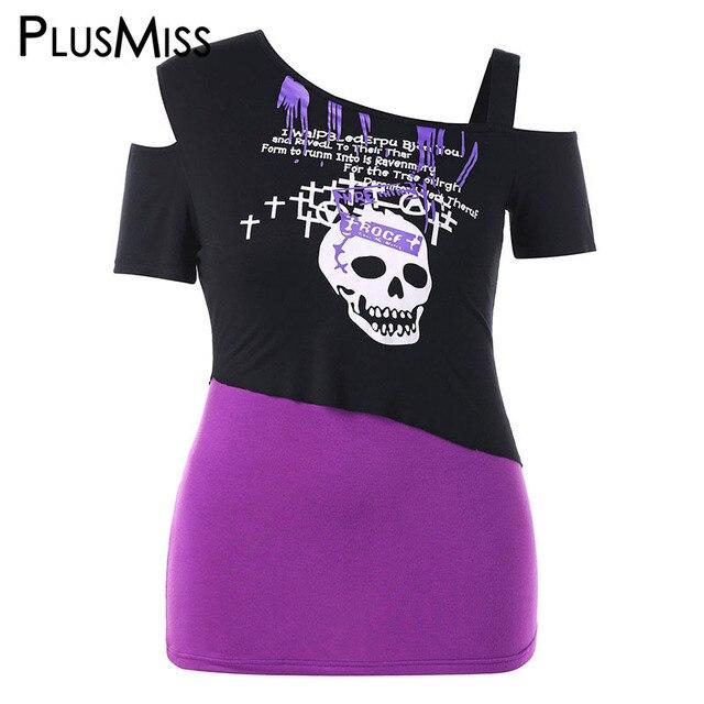 03cde44d914b8 PlusMiss Plus Size 5XL Sexy Skull Printed Cold Shoulder Punk Rock T Shirts  Ladies Summer Short Sleeve Tops Tees XXXXL XXXL XXL
