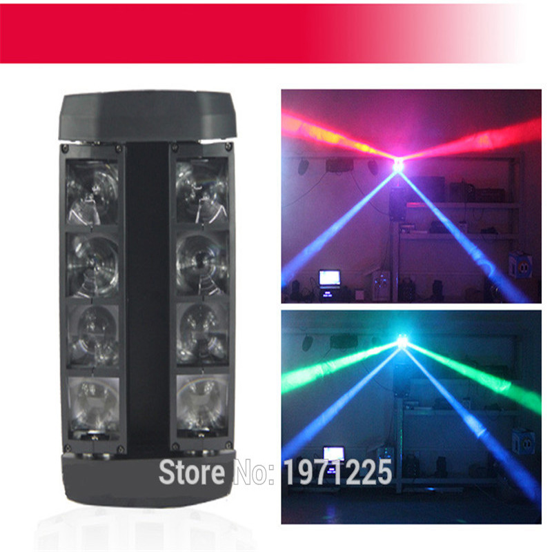 4pcs/lot   Moving Head  LED Top Sale DMX Stage Lighting Effect MINI Beam Spider 8x6W RGBW  for Party Weeding Disco Bars DJ  KTV rg mini 3 lens 24 patterns led laser projector stage lighting effect 3w blue for dj disco party club laser