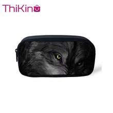 Thikin Moonlight Wolf Casual Pencil Bags Pen Bag for Boys Case Student Makeup Storage HandBags Purses Kids