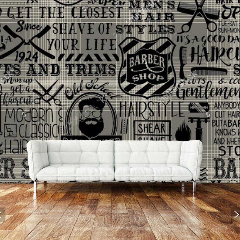 Custom vintage wallpaper, barber shop elements for the wall of the barber shop sofa living room wall paper papel de parede сумка printio elements of harmony
