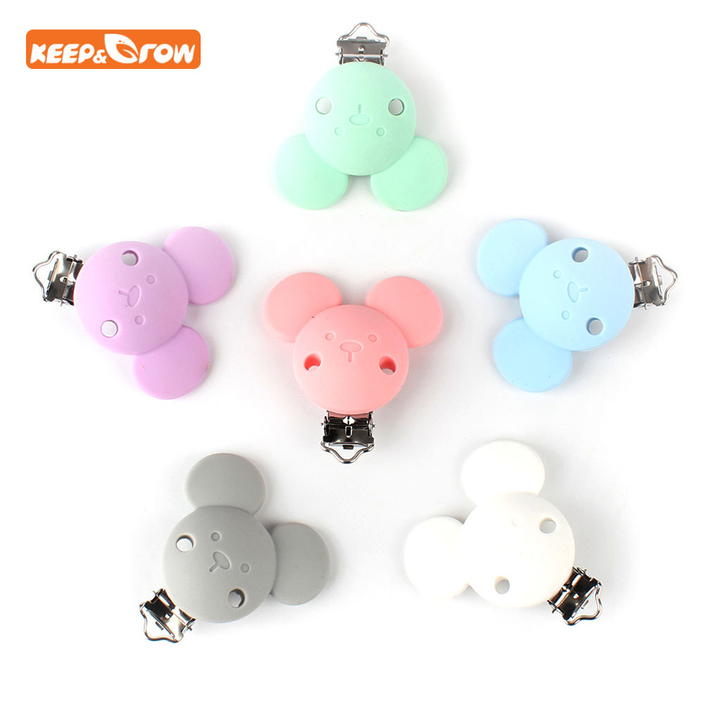 Keep&grow 1Pc Cartoon Mouse Pacifier Clips Silicone Baby Pacifier Holder Teething Accessories Clasps Toy DIY Pacifier Chain Tool