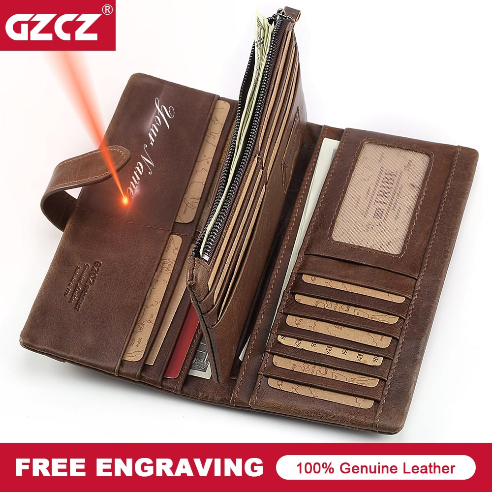 GZCZ Brand Classic Men Wallets Fashion Design Genuine Crazy Horse Leather Walet Long Purse Card Holder Man Vintage Birthday Gift gzcz famous luxury brand genuine leather men wallets with card holder casual men s leather walet case purse portfolio cartera