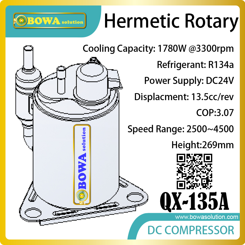 DC24V hermetic rotary compresssor suitable for R134a cooler, freezer, chiller and movable cold room equipments 1560w monoblock refrigeration unit suitable for 10m3 beverage cooler or bottle cooler room