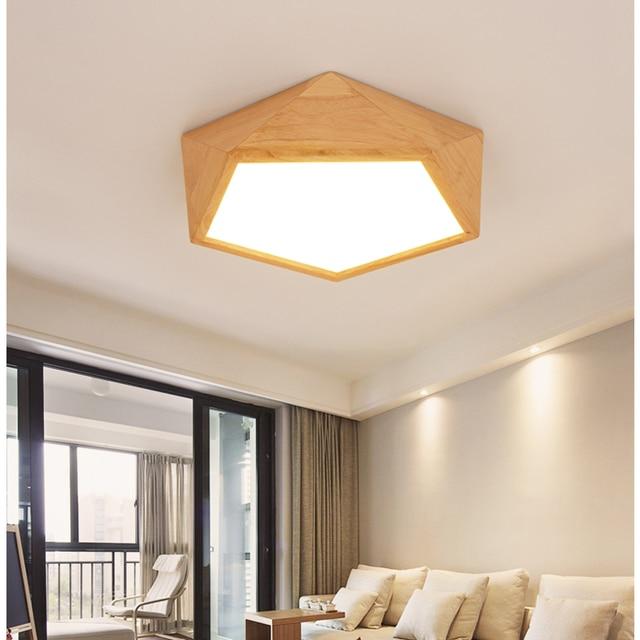 Moderne Holz deckenbeleuchtung lampen led für wohnzimmer deckenleuchte holz  AC 110 V-260 V Polygon decke lightsLiving zimmer lichter