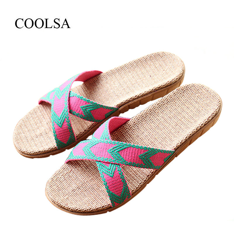 COOLSA Women's Summer Cross-tied Linen Slippers Indoor Flat Canvas Non-slip Flax Slippers Beach Flip Flops Bathroom Slippers Hot coolsa women s summer flat non slip linen slippers indoor breathable flip flops women s brand stripe flax slippers women slides
