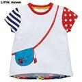 Little maven marca roupa das crianças 2017 novo bebê menina do verão roupas camisa de manga curta t impressão do saco de Algodão t tops 50809