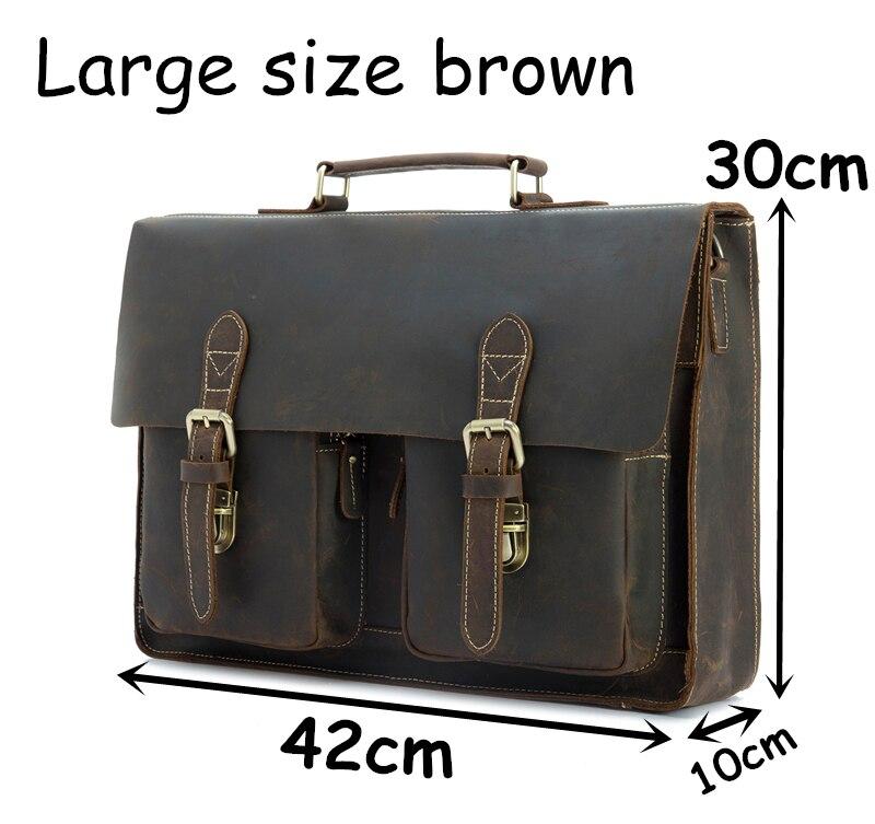 HTB14KtBkiAKL1JjSZFoq6ygCFXa3 Top Grade Male Men's Vintage Real Crazy Horse Leather Briefcase Messenger Shoulder Portfolio Laptop Bag Case Office Handbag 1061