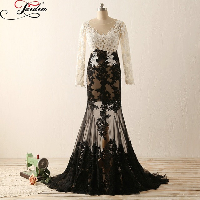 fda7ad10a75 JAEDEN Elegant White and Black Prom Dresses Lace Beads Long Sleeves Sexy  See Through Real Photo 2017 V Neck Mermaid Formal Gowns