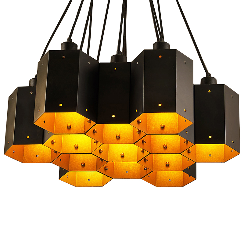 Vintage Loft Industrial Pendant Lights Black Gold Bar Stair Dining Room  Shade suspension luminaire LED Pendant Lamp Fixtures