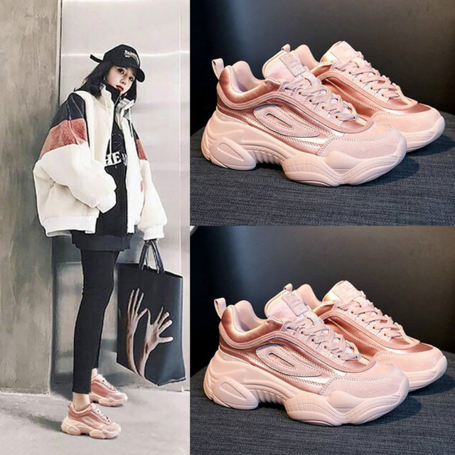 In Women's Pink Ladies 2019 72 Spring Us22 Femme Chunky 29Off Fashion Causal Shoes New White Tenis Sneakers Chaussure Platform Woman N8m0wvn