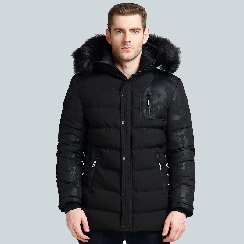 Men's Winter Jackets Mens Fashion Long Sleeve Coat Men Camouflage Jacket Cheap Coats Warm Fur Collar Hood Male Coat Size M-3XL