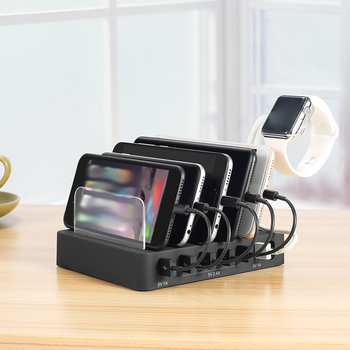 6 Puertos USB 50W Teléfono Móvil Tableta Cargador Inteligente Teléfono Soporte Reloj Adaptador De Carga Dock