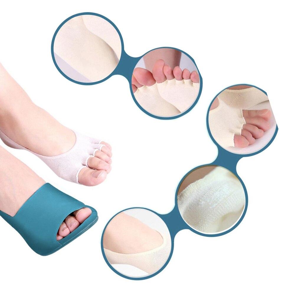 1 pair Health Foot Care Massage Toe Socks Five Fingers Toes Compression Socks Arch Support Non-slip silicone cotton lighter boa