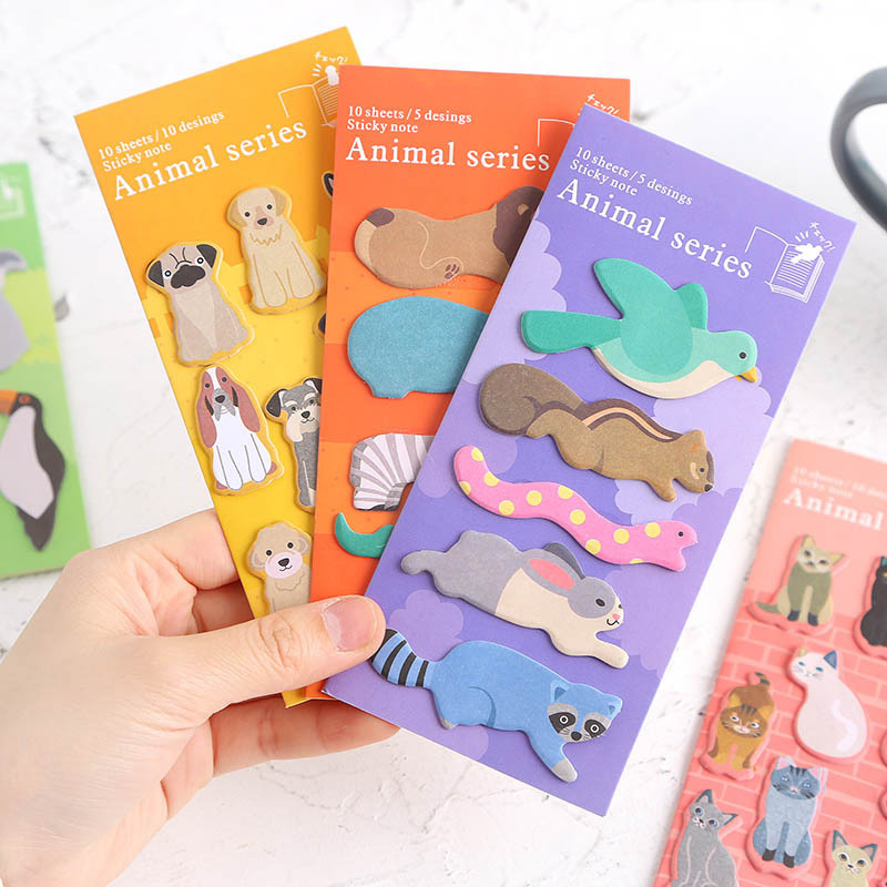 Kawaii Cat Memo Pads Creative Animals Writing Stickers Cute Sticky Notes For Kids Gifts School Office Supplies Korean Stationery