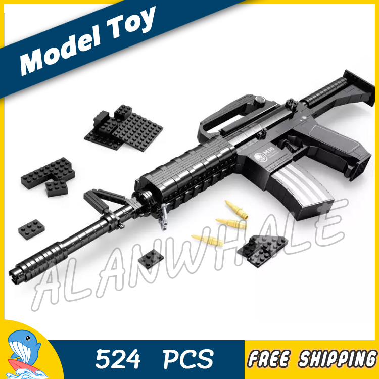 524pcs New Model M16 Toy Machine Carbine Gun Weapon For Military Assault Soldiers Building Kit Blocks Toys Compitable with Lego 1 1 508pcs mp7 submachine assault gun weapon swat arms model 3d diy building blocks bricks kids toy gift compatiable with lego