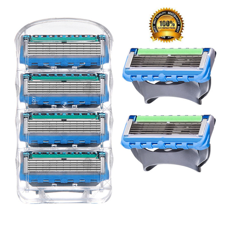4pcs/pack High Quality 5 Layers Blade Razor Blades For Men Shaving Face Care Cassette Shaving Compatible With Gillettee Fusione