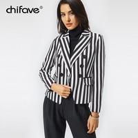 chifave Blazer Women Fall 2018 Casual Black with Gray Striped Ladies Blazer Jacket Women's Spring Autumn Jackets Plus Sizes 5XL