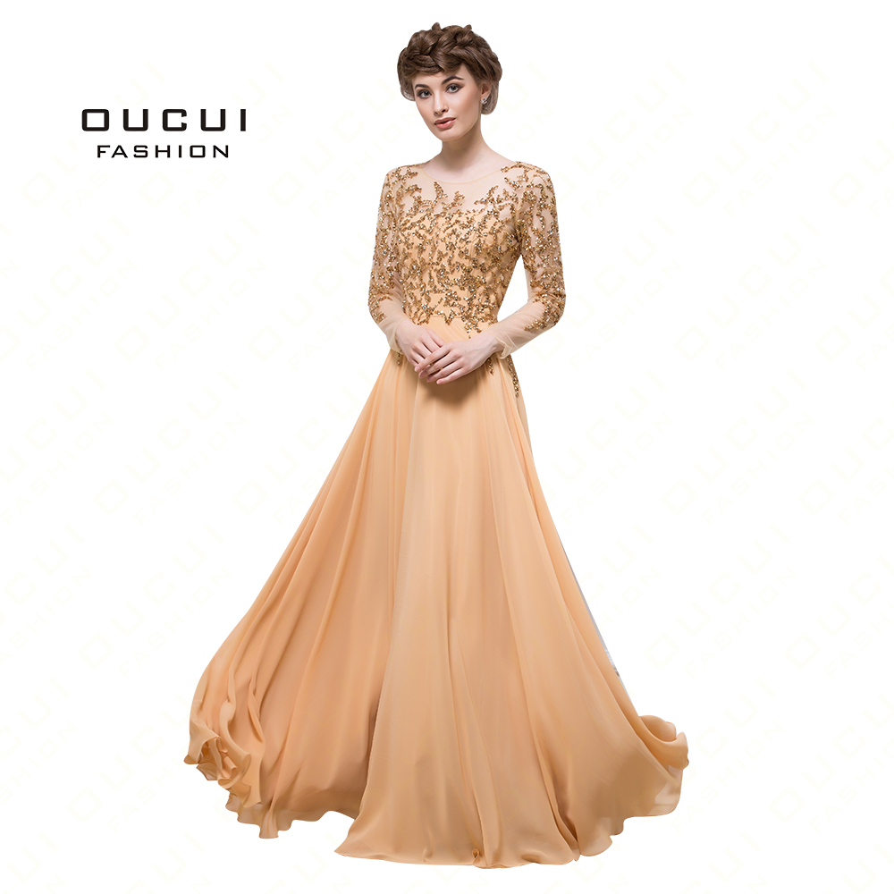 Real Photos Tulle See Through Gold Color Long Sleeve Elegant Prom Muslim Dress Party Evening Dress Handwork Beading OL102910