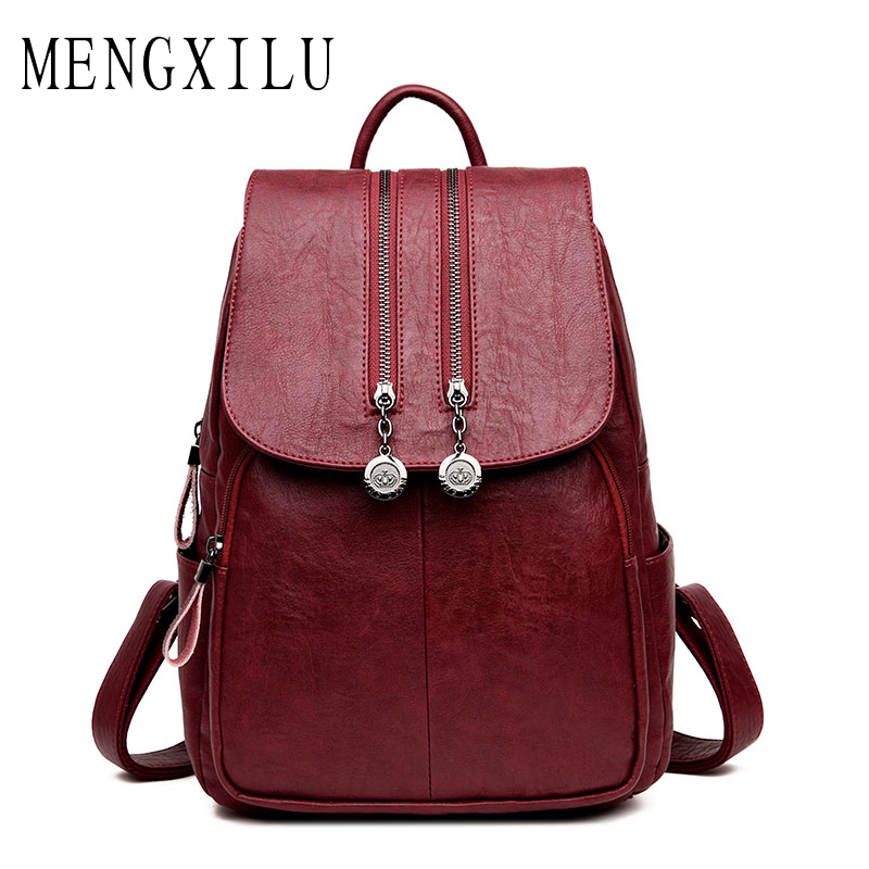MENGXILU 2018 Fashion Women Backpack Female School Bags For Teenager Girls High Quality PU Leather Backpack Women Large Capacity high quality pu leather women backpack fashion solid school bags for teenager girls large capacity casual women black backpack l