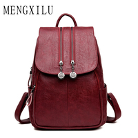 MENGXILU 2018 Fashion Women Backpack Female School Bags For Teenager Girls High Quality PU Leather Backpack