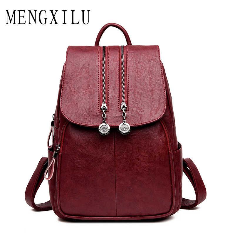 72b0b9f4d7a1 MENGXILU 2018 Модный женский рюкзак женские школьные сумки для  девочек-подростков Высокое качество PU кожаный