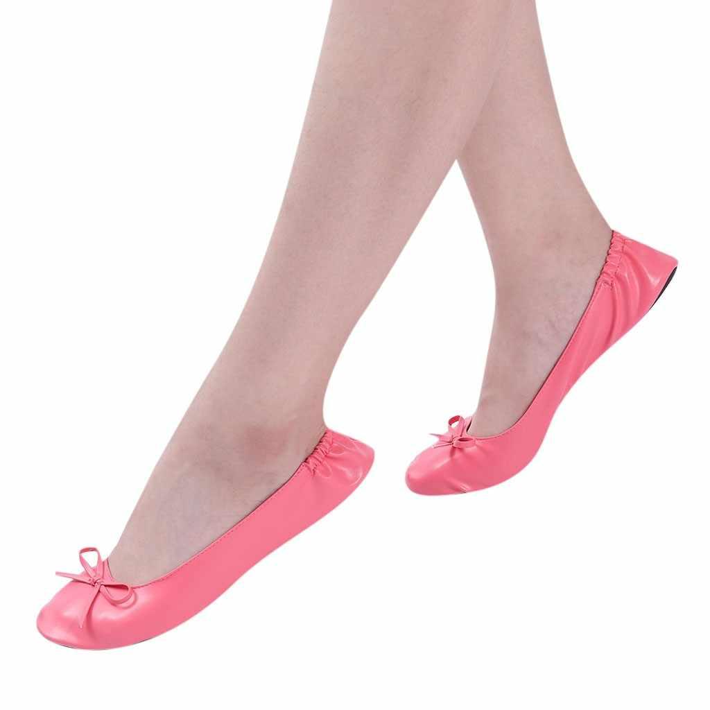 Pieghevole pantofole da viaggio portatile piane di balletto delle Donne scarpe delle signore di estate pistoni casuali femminili del partito di ballo scarpe zapatos mujer
